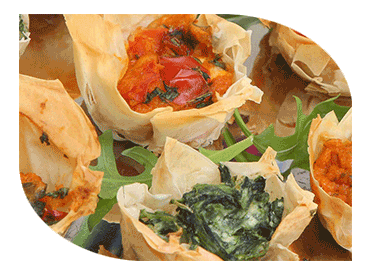 vold canapes in filo pastry