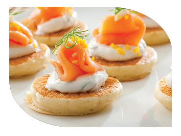 smoked salmon on blini canape